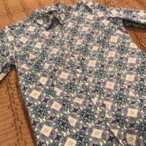 Chadwick's blouse, blue print, long sleeves, 14T